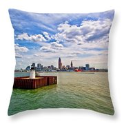 East Pierhead Lighthouse View Of Cleveland Throw Pillow