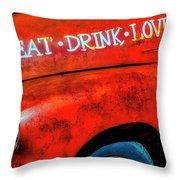 Eat Drink Love Rusty Truck Throw Pillow