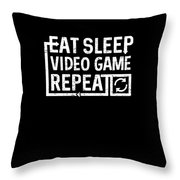 Eat Sleep Video Game Throw Pillow