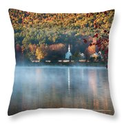Eaton Nh Little White Church With Fall Foliage Throw Pillow by Jeff Folger