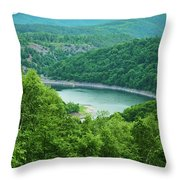 Edersee Lake Surrounded With Forest Throw Pillow