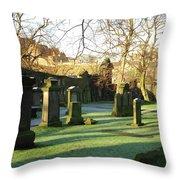 Edinburgh Castle From Blackfriars In Winter Throw Pillow