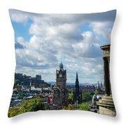 Edinburgh Castle From Calton Hill Throw Pillow