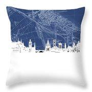 Edinburgh Skyline Map Blue Throw Pillow