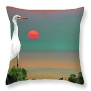 Egret At Evening Throw Pillow
