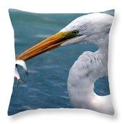 Egret Feeding  Throw Pillow