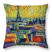 Eiffel Tower And Paris Rooftops In Sunlight Textural Impressionist Stylized Cityscape Mona Edulesco Throw Pillow