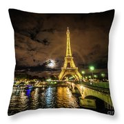 Eiffell Tower At Night After The Storm Passed Throw Pillow