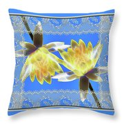Electric Yellow Water Lilies Throw Pillow