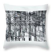 Electrical Substation Throw Pillow by Juan Contreras