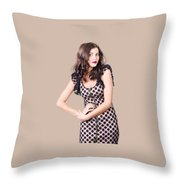 Elegant High Fashion Model In Autumn Clothes Throw Pillow