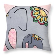 Elephant And Child On Pink Throw Pillow by Caroline Sainis