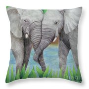 Elephant Couple Throw Pillow
