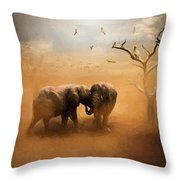 Elephants At Sunset 072 - Painting Throw Pillow