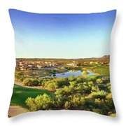 Elevated View Of Golf Course, Sun City Throw Pillow