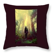 Elf With Flame Throw Pillow