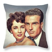 Elizabeth Taylor And Montgomery Clift, Hollywood Legends Throw Pillow