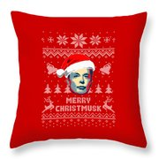 Elon Musk Merry Christmusk Throw Pillow