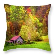 Embraced In Autumn Color Painting Throw Pillow