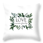 Emerald Wild Forest Foliage 2 Watercolor Throw Pillow