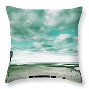 Empty Beach Bench Throw Pillow
