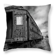 End Of The Line Bw Throw Pillow