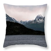 View Over Ensenada Bay Of High Peaks In Tierra Del Fuego National Park, Ushuaia, Argentina Throw Pillow