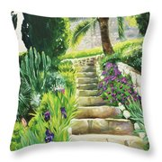 Escaliers A Villefranche Throw Pillow