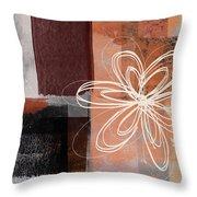 Espresso Flower 1-  Art By Linda Woods Throw Pillow