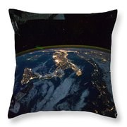 Italy From Space At Night Throw Pillow
