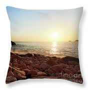 Evening Glow At Porth Nanven Throw Pillow