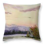 Evening In The Mountains Throw Pillow