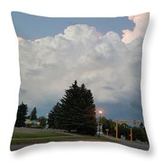 Evening Lightning Storm Illuminates The Sky Throw Pillow