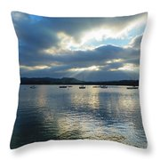Evening On Windermere In Lake District National Park Throw Pillow