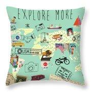 Exlore More World Map Throw Pillow