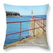 Eyemouth Harbour Pier Entrance Throw Pillow