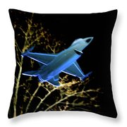 F 16 Lit Up At Night On Glass Monument Throw Pillow