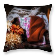 Fabric And Flowers Throw Pillow