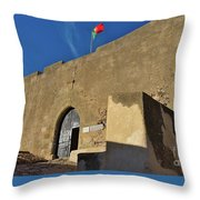 Facade Of The Medieval Castle Of Castro Marim Throw Pillow
