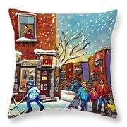 Face Off Street Hockey At The Corner Dep Snow Falling Streets Of Montreal Quebec Artist C Spandau Throw Pillow