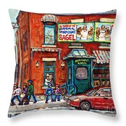 Fairmount Bagel Bakery Laneway Hockey Art Depanneur Winter Scenes C Spandau Montreal Landmark Stores Throw Pillow