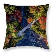 Fall Aerial With Bridge Throw Pillow