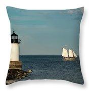 Fame Sailing Into Salem Harbor Throw Pillow by Jeff Folger