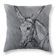 Family Mule Throw Pillow