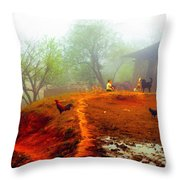 Family On A Hill In Sapa, Vietnam Throw Pillow