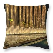 Fantacy Fountain Night Lit San Pedro Gateway Throw Pillow