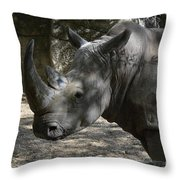 Fantastic Profile Of A Rhino With A Long Horn Throw Pillow