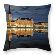 Fantastic Stockholm City Hall And Gamla Stan Reflection With Clouds Throw Pillow