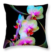 Fantasy Orchids In Full Color Throw Pillow