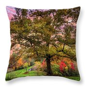 Farm In The Blue Ridge Smoky Mountains Throw Pillow